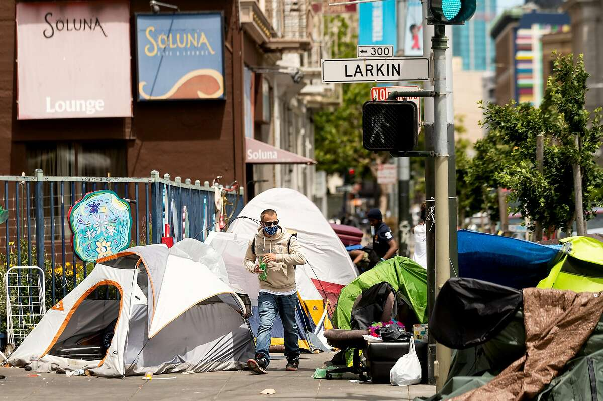 Tents line a McAllister St. sidewalk on the same block as UC Hastings College of the Law on Thursday, June 12, 2020, in San Francisco.