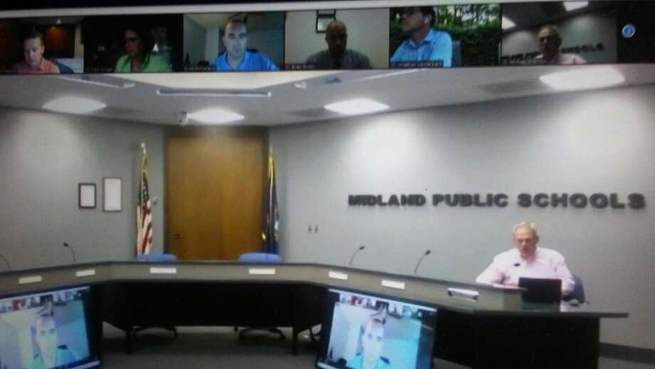 Midland Public Schools Superintendent Michael Sharrow participates on a Zoom call with board members. Photo: Screenshot