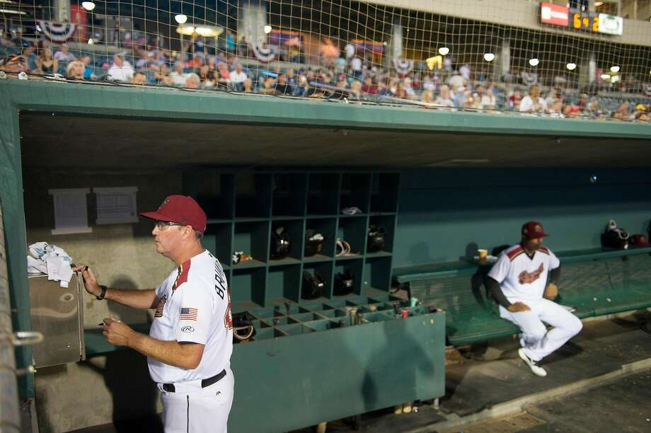 River Cats manager Dave Brundage keeps an eye on the game during the first Pacific Coast League championship series game against the Las Vegas Aviators at Raley Field in Sacramento on Sept. 4, 2019. Photo: Chris Kaufman / Special To The Chronicle 2019