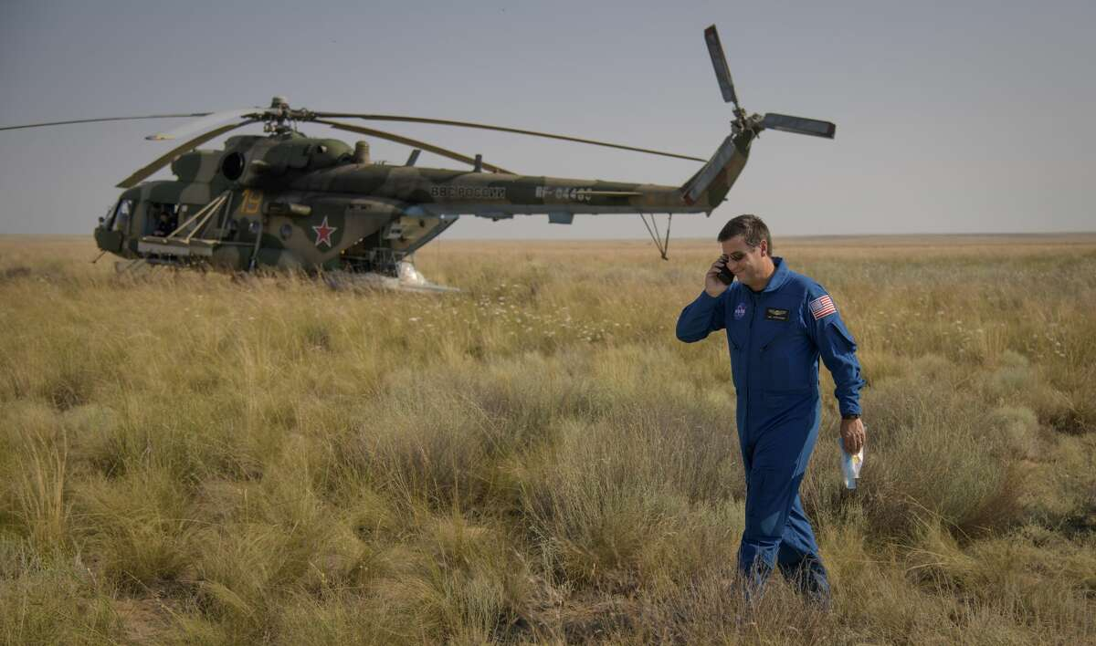 Joel Montalbano is the new program manager for NASA's International Space Station Program. In this picture, when he was the deputy program manager, Montalbano talks to mission managers via satellite phone from the Soyuz MS-11 landing zone in a remote area near the town of Zhezkazgan, Kazakhstan on Tuesday, June 25, 2019 Kazakh time (June 24 Eastern time). Photo Credit: (NASA/Bill Ingalls)