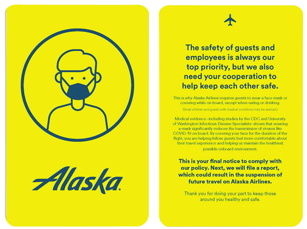 Alaska Airlines will use a yellow card to warn passengers who refuse to wear a mask in flight.