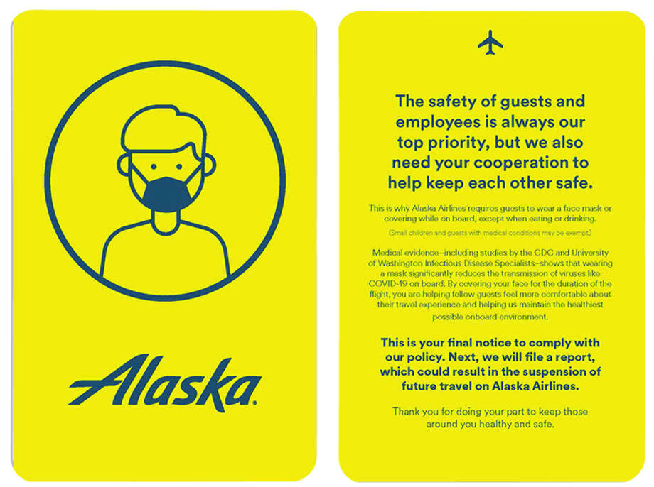 Alaska Airlines will use a yellow card to warn passengers who refuse to wear a mask in flight. Photo: Alaska Airlines
