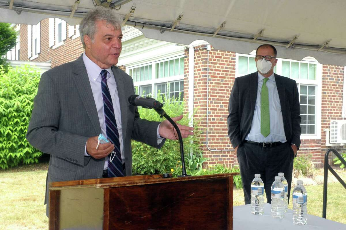 Mark Scheinberg, President of Goodwin University speaks during a news conference on the University of Bridgeport campus, in Bridgeport, Conn. June 30, 2020. Scheinberg is seen here with UB President Stephen Healey.