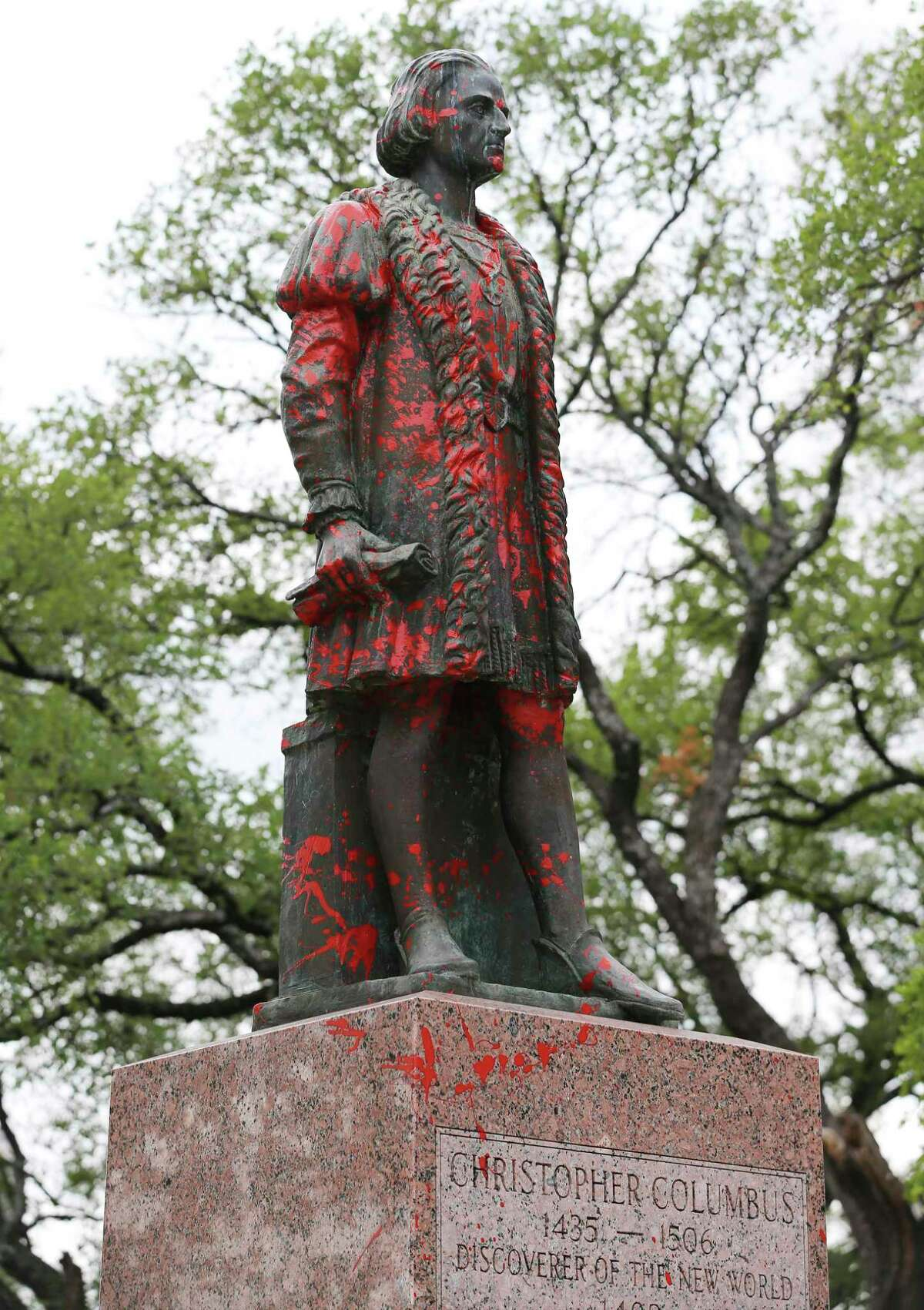 The Christopher Columbus statue located in the Piazza Di Columbo, also called Columbus Park was vandalized with red paint on June 25. The City Council in August will consider a proposal by Councilman Robert Trevino to give it back to the Christopher Columbus Society, which donated it in 1957, and to rename the park.