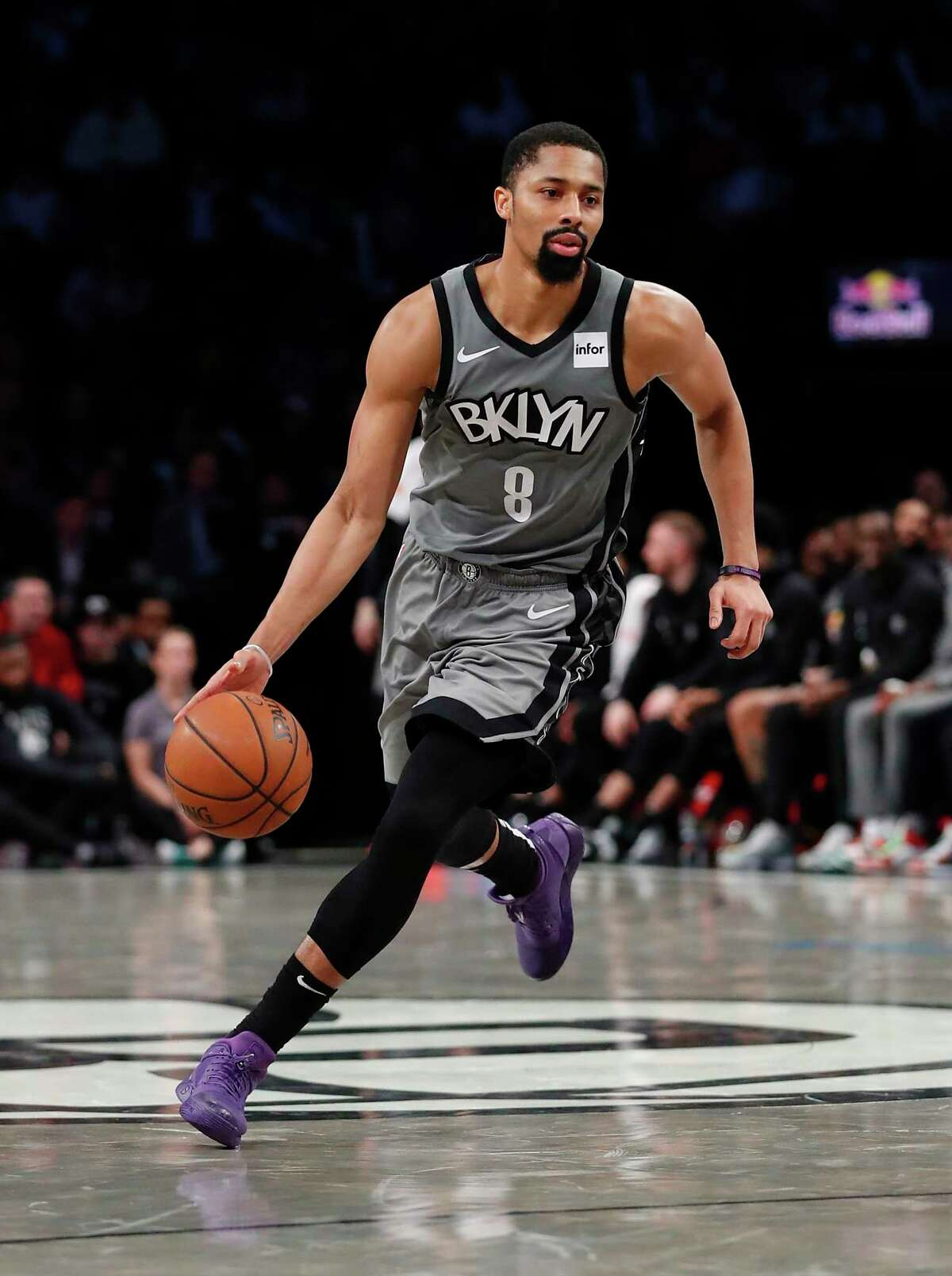 Brooklyn Nets guard Spencer Dinwiddie (8) drives to the basket against the Atlanta Hawks during the second half of an NBA basketball game, Saturday, Dec. 21, 2019, in New York. (AP Photo/Noah K. Murray)