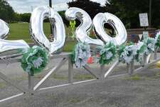 Festive balloons adorn one of the entrances to the school.