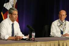 Mayor Ron Nirenberg (left) and Bexar County Judge Nelson Wolff give the daily city-county briefing on the latest coronavirus numbers. There were 1,268 new cases which gives the Bexar County and the city 12,065 confirmed positive cases of Covid-19. Judge Wolff will enact an order that will require businesses to screen customers with questions and a temperature check before entering their establishment.