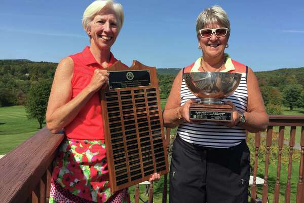Anne Porter Van Buren of Pinehaven, left, earned the Northeastern Women's Golf Association senior championship on Tuesday, Sept. 12, 2017 at Windham Country Club in Windham. Carolyn Merritt of Columbia won the super senior championship.