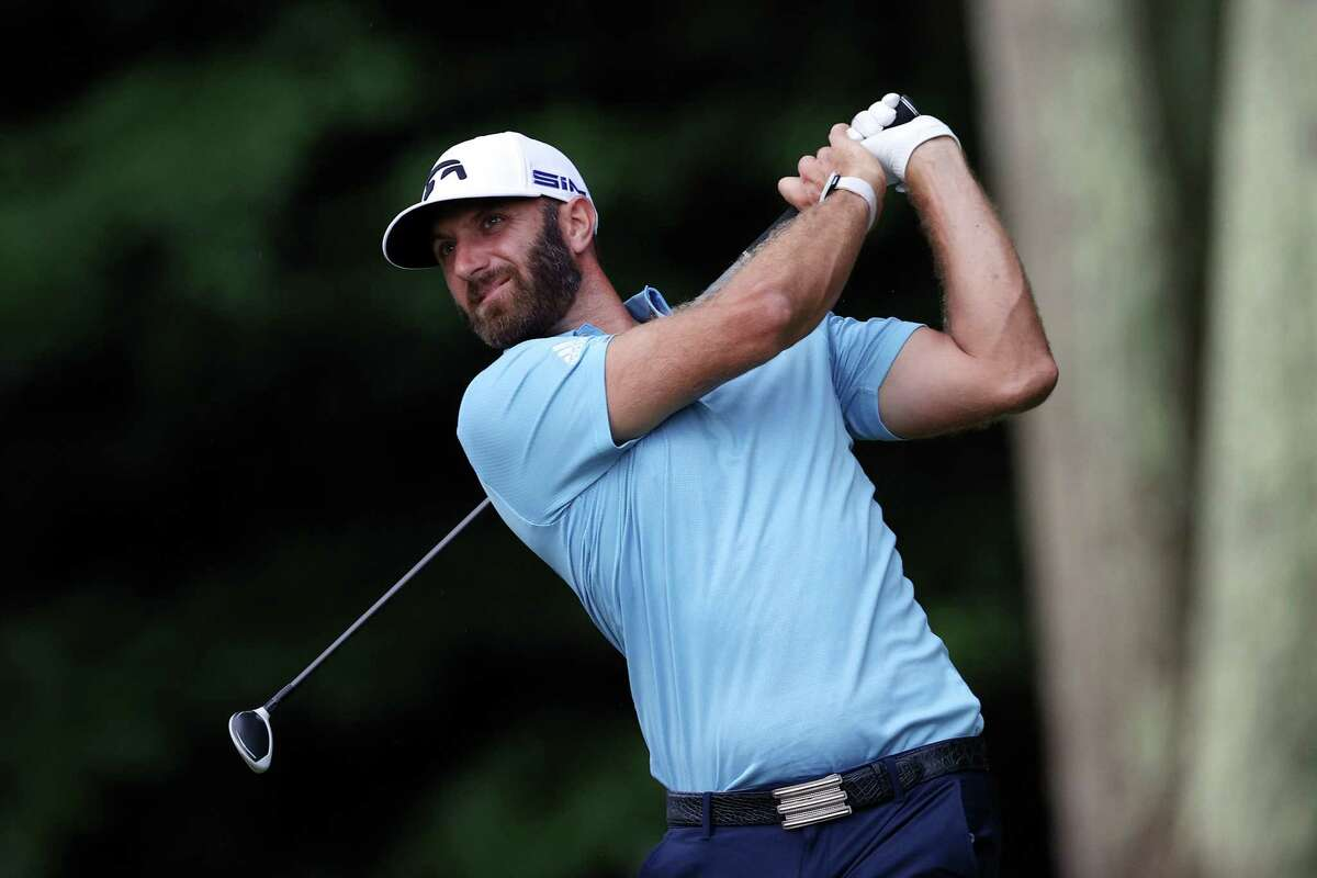 CROMWELL, CONNECTICUT - JUNE 28: Dustin Johnson of the United States plays his shot from the 15th tee during the final round of the Travelers Championship at TPC River Highlands on June 28, 2020 in Cromwell, Connecticut. (Photo by Rob Carr/Getty Images)
