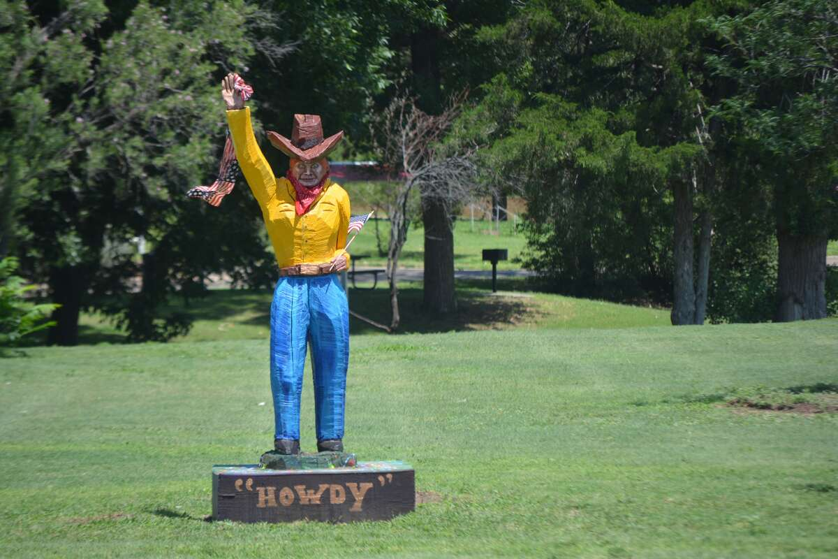 The waving cowboy at Lloyd Woods Park has been taken down.