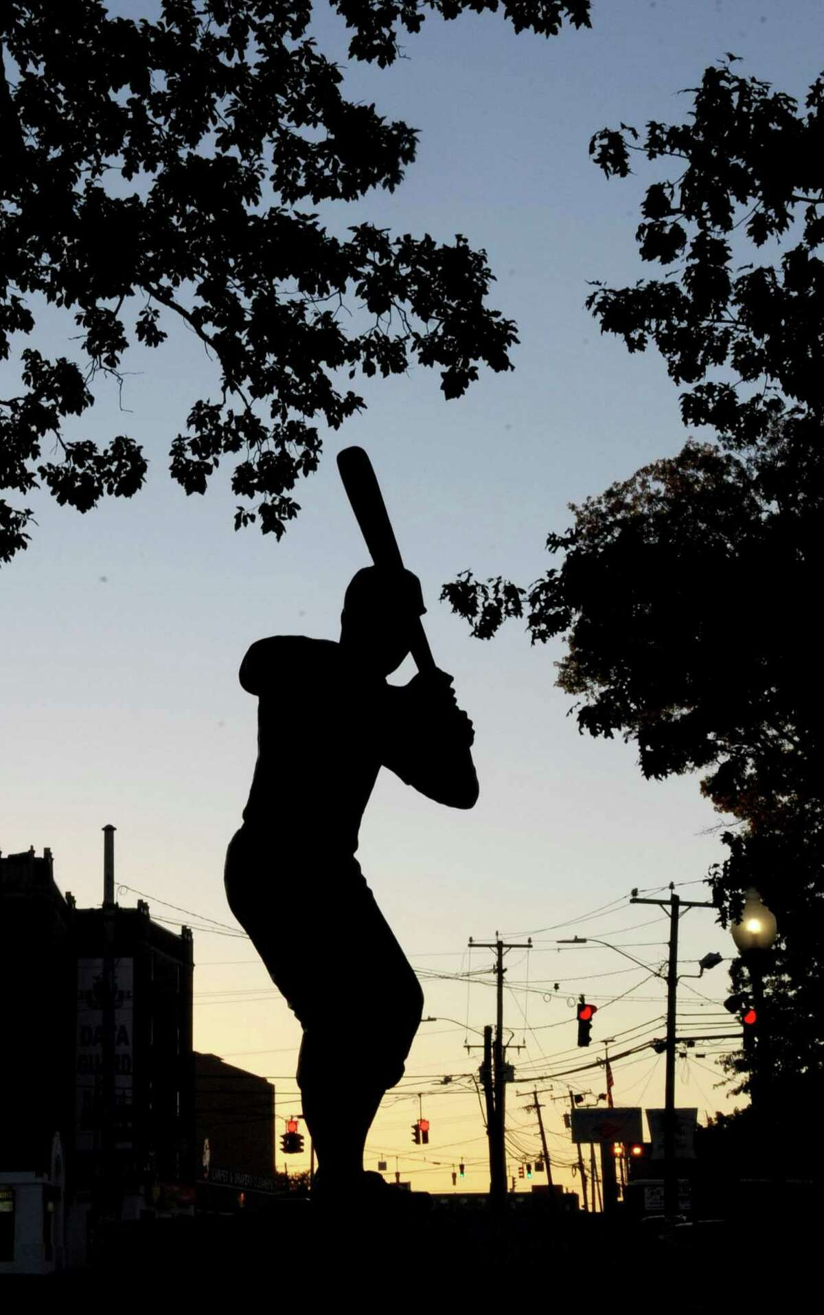 A statue of Jackie Robinson in Stamford.