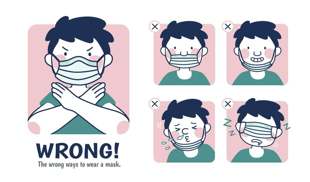 COVID-19 prevention illustration, the incorrect examples of wearing a mask However, Saul said, while he appreciates the good intentions, too many people are wearing their masks incorrectly.