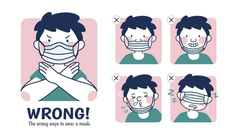 """COVID-19 prevention illustration, the incorrect examples of wearing a mask However, Saul said, while he appreciates the good intentions, too many people are wearing their masks incorrectly. """"I really have observed people not covering their noses and just covering their mouths,"""" he said. """"It's just as important to cover your nose."""" Dr. Daniel Gottschall, vice president of medical affairs for the Fairfield region of Hartford HealthCare and St. Vincent's Medical Center in Bridgeport, agreed. He said evidence has shown that COVID-19 is primarily transmitted from person to person, via fluids excreted from the mouth and nose not just during coughing and sneezing, but also talking, laughing, singing and other activities. Photo: JoyImage / Getty Images / iStockphoto"""