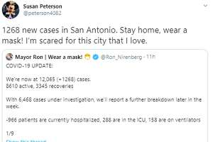 @peterson4082: 1268 new cases in San Antonio. Stay home, wear a mask! I'm scared for this city that I love.