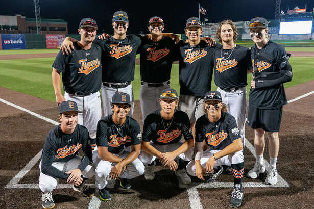 Graduating senior members of the Edwardsville baseball team pose at home plate after Monday's game against Granite City at GCS Stadium in Sauget. Players, in no particular order, are Grant Coffey, Ryan Kulasekara, Logan Cromer, Weston Slemmer, Jacob Kitchen, Gavin Reames, Drake Westcott, Nick Logan, Collin Salter and Gavin Huebner.