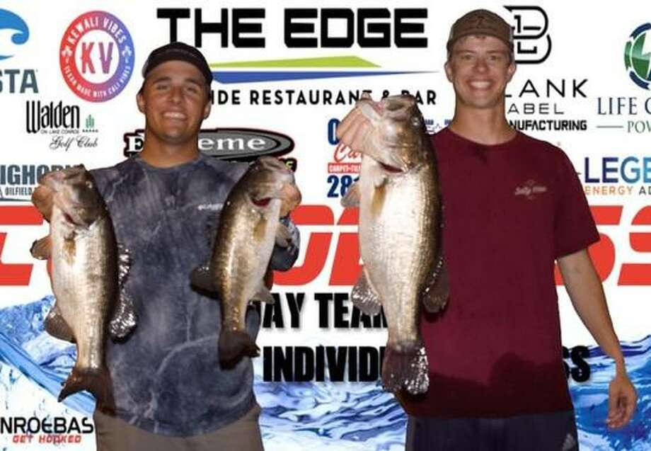 Zac Pickle and Connor Whisenant won the CONROEBASS Tuesday night tournament with a stringer weight of 13.21 pounds. Photo: Conroe Bass