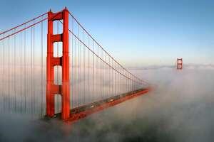 The fog rolling past San Francisco's Golden Gate Bridge, taken from Battery Spencer in the Marin Headlands.