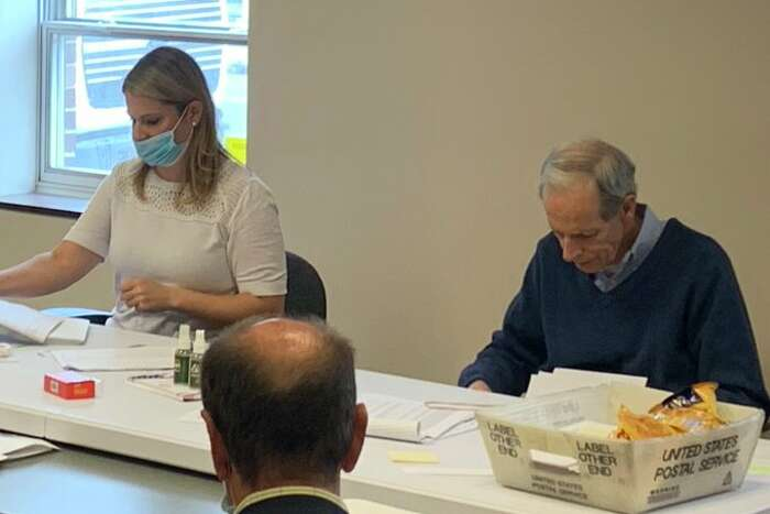 Albany County's Democratic Elections Commissioner Matt Clyneis photographed not wearing a mask during ballot counting this week in Albany. The county's legislature chairman, Andrew Joyce, said Clyne'sdecision is reason to replace him.