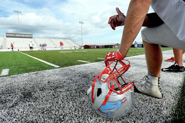 Schools that made the investment into turf fields are seeing a pay-off to their expense. In the wake of Tropical Storm Harvey's devastating rainfall and flooding, those with the quicker drying turf, such as Lumberton High School, have been able to get back on the field for practice and game play more quickly. Photo taken Monday, September 19, 2017 Kim Brent/The Enterprise