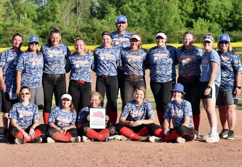 Members of the Midland Lady Explorers 18U team which finished second at the NSA state tournament in Grand Blanc this past weekend are (front, from left) Jillian Krawczak, Summer Stone, Gabby Schloop, Mady Snyder, Hailey Leister; and (back, from left) assistant coach Fred Kelly, manager Casey Kristin, Addison Cooley, Katie Bickham, Lakin Fryzel, assistant coach Tim Gilbert, Krista Moe, Ashley Roper, Markie Hooton, scorebook keeper Gillian Schloop, and assistant coach Jodi Mayan. Photo: Photo Provided