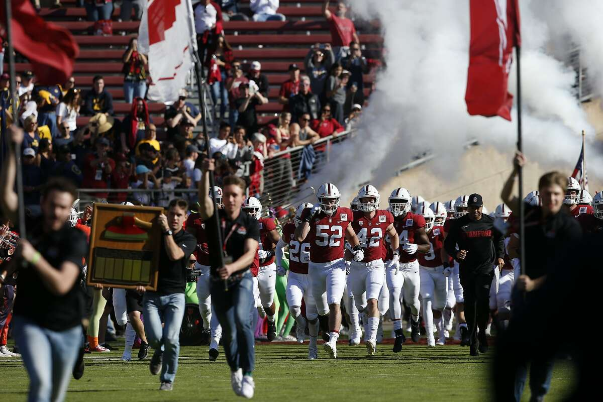 The Stanford Cardinal take the field for the 122nd Big Game against the California Golden Bears at Stanford Stadium on Saturday, Nov. 23, 2019, in Stanford, Calif.