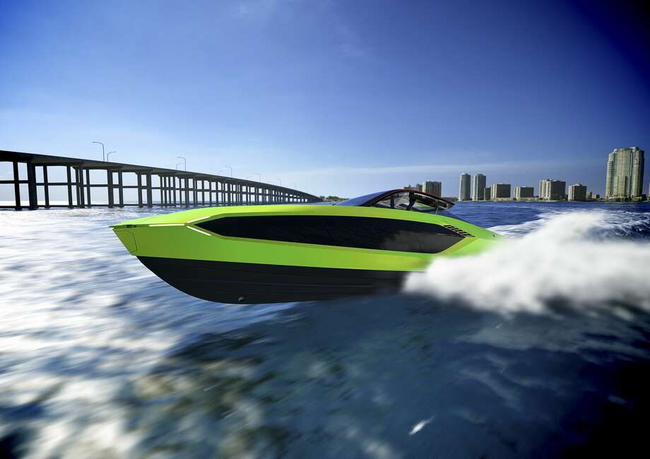 The hull and superstructure are made from a high-performance nautical-grade shell developed by naval engineers specializing in hydrodynamic sciences, according to Lamborghini. Photo: Lamborghini/Handout