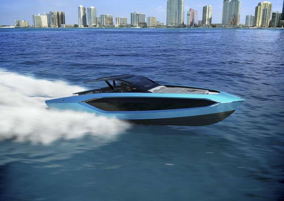 The Lamborghini 63 luxury speedboat was developed by Italian Sea Group, with design consultation from Lamborghini's Centro Stile team. Photo: Lamborghini/Handout