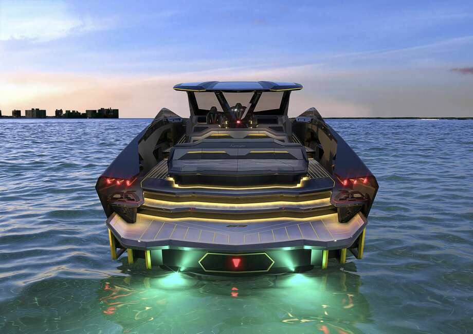 The rear of the boat draws major inspiration from the Sián FKP 37 hybrid sports car Photo: Lamborghini/Handout