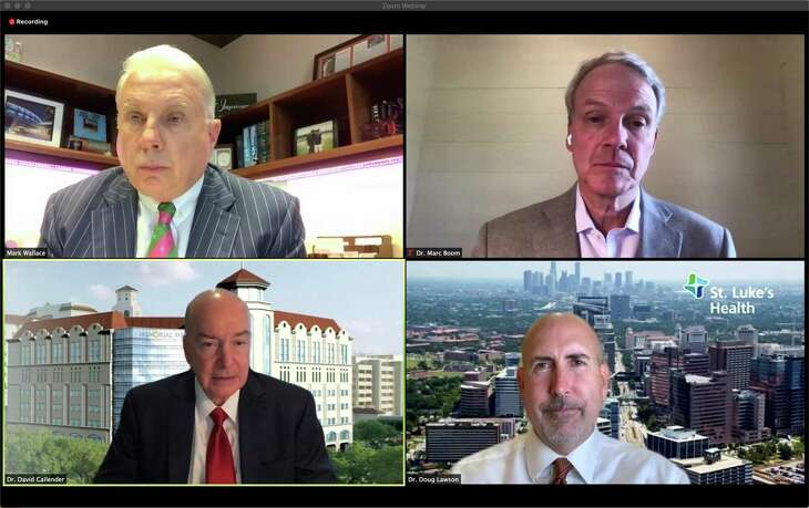 Screenshot of Houston hospital CEOs during a Zoom news conference held to clarify a previous statement about hospital capacity during the June COVID-19 surge, Thursday, June 25, 2020. Clockwise from upper left: Mark A. Wallace, Texas Children's Hospital; Dr. Marc Boom, Houston Methodist; Dr. Doug Lawson, St. Luke's Health and Dr. David L. Callender, Memorial Hermann Health System.