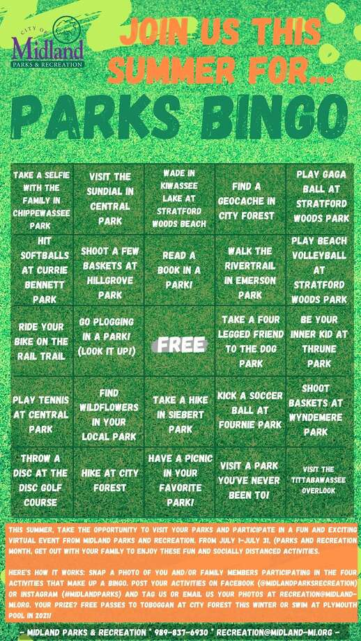 Midland Parks and Recreation created a BINGO game for residents to play for a chance to receive a free recreation pass for 2021. (Photo provided/City of Midland)