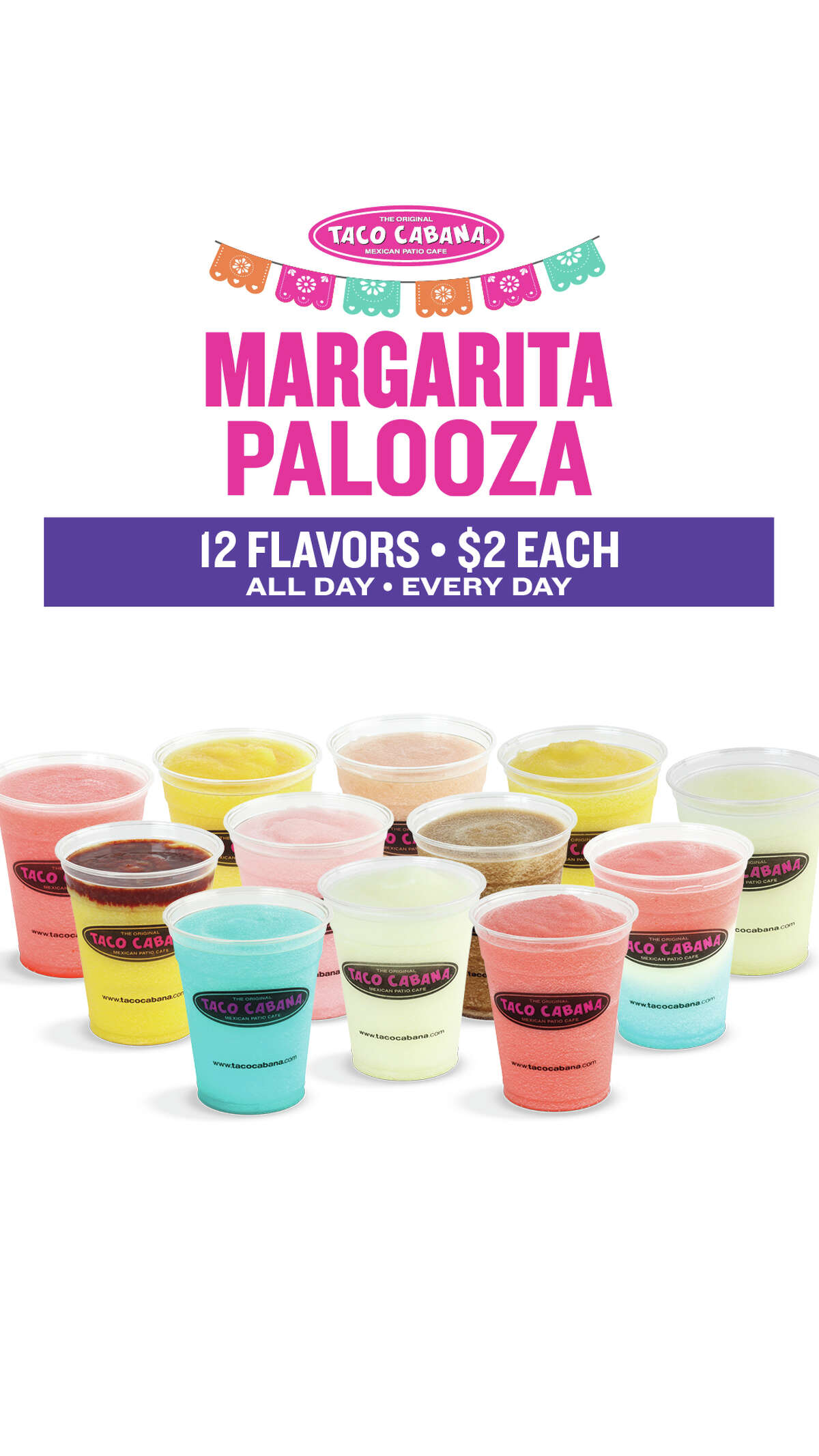 There's about to a whole new menu of margarita options at Taco Cabana starting this weekend, all for $2 each.