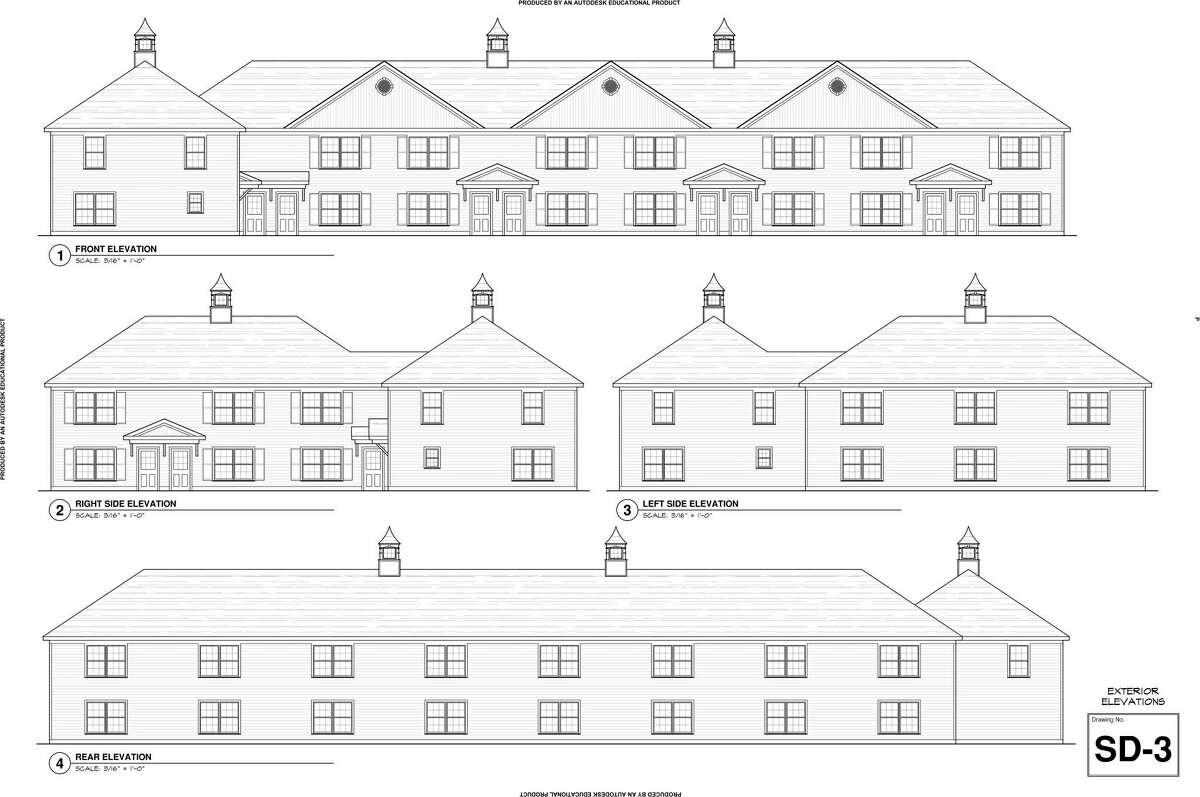 This drawing shows the elevations of the proposed 11, two-bedroom units on Good Hill Road. A percentage of these nine units would be considered affordable.