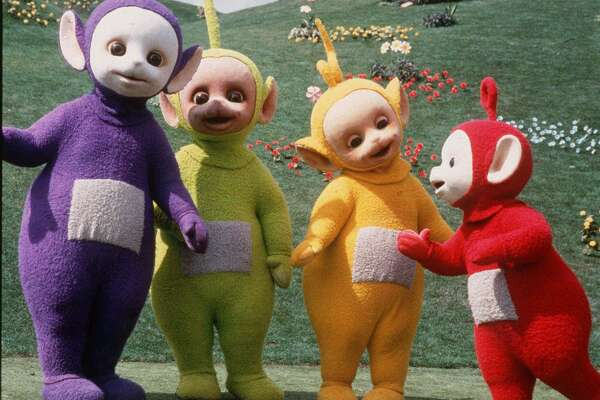 The Teletubbies, from left, Tinky Winky, Dipsy, Laa-Laa and Po are shown in this 1998 publicity photo. stars of the new PBS show of the same name.