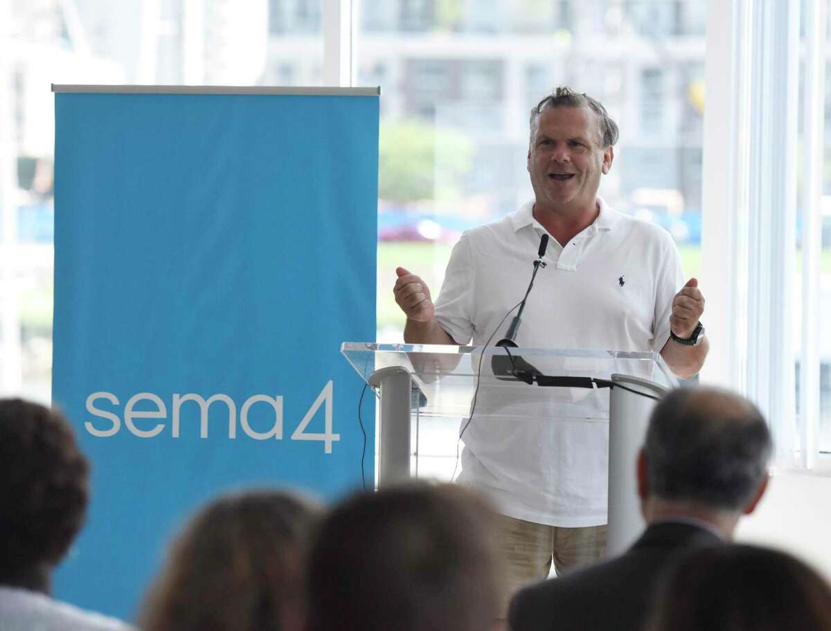 Sema4 founder and CEO Eric Schadt, Ph.D., speaks during the ground breaking of the company's lab site in the Waterside section of Stamford, Conn., on Aug. 1, 2019.