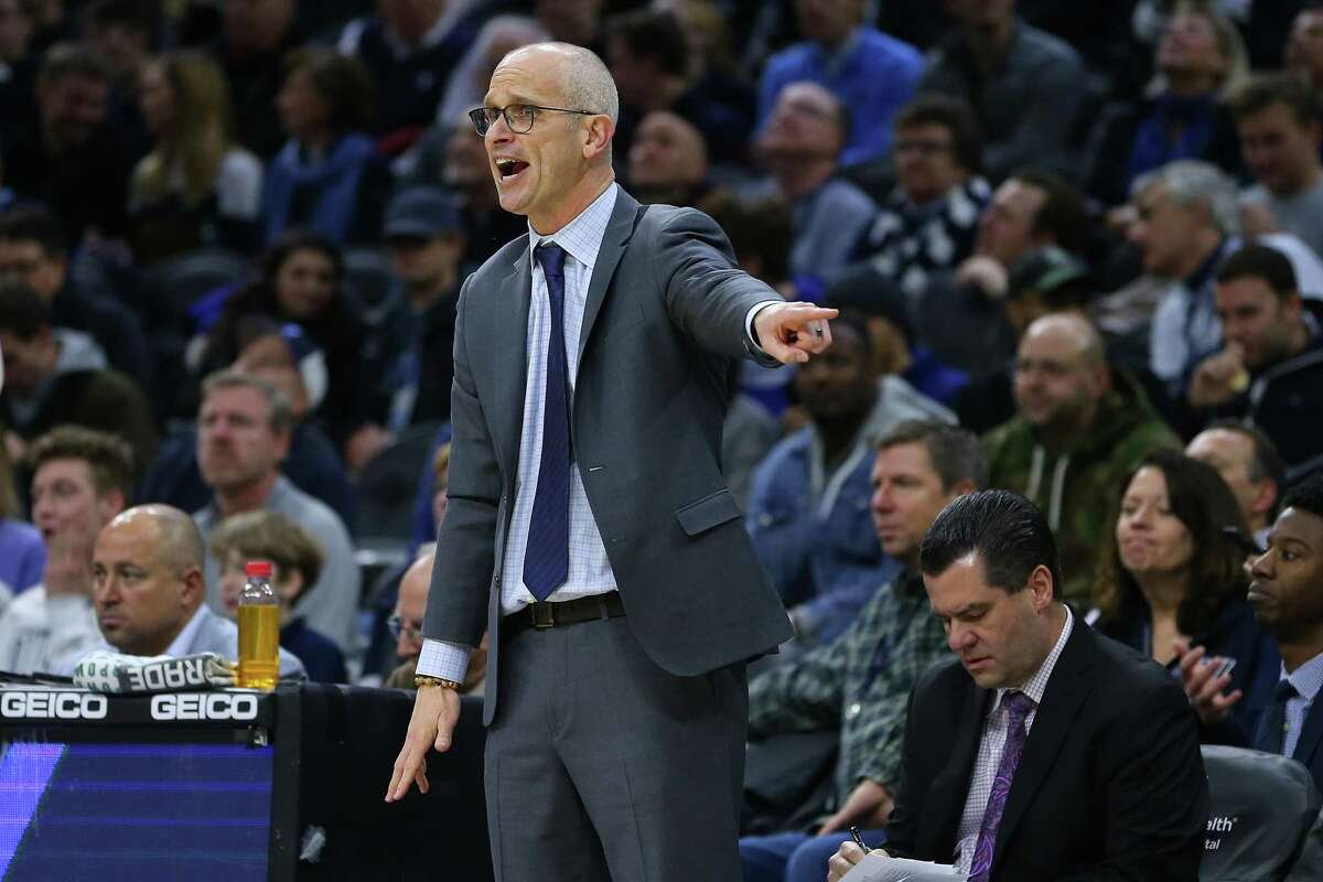 PHILADELPHIA, PA - JANUARY 18: Head coach Dan Hurley of the Connecticut Huskies reacts to his team against the Villanova Wildcats during the second half of a college basketball game at Wells Fargo Center on January 18, 2020 in Philadelphia, Pennsylvania. Villanova defeated Connecticut 61-55. (Photo by Rich Schultz/Getty Images)