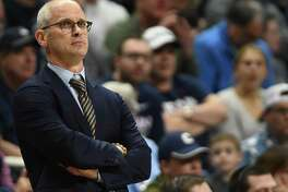 UConn Huskies head coach Dan Hurley during the game as the Houston Cougars take on the UConn Huskies on March 5, 2020 at Gampel Pavilion in Storrs.