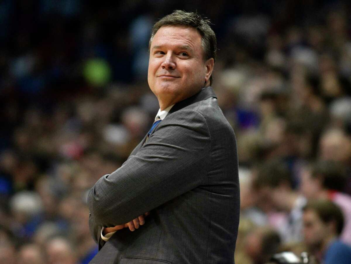 LAWRENCE, KS - NOVEMBER 21: Bill Self head coach of the Kansas Jayhawks smiles as he watches his team play against the Texas Southern Tigers at Allen Fieldhouse on November 21, 2017 in Lawrence, Kansas. (Photo by Ed Zurga/Getty Images) ORG XMIT: 775058407