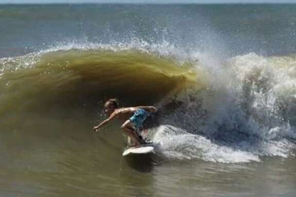 Caden Shelton enjoyed some unexpected practice in the waters off Galveston when Tropical Storm Cristobal was in the Gulf of Mexico, creating larger waves.