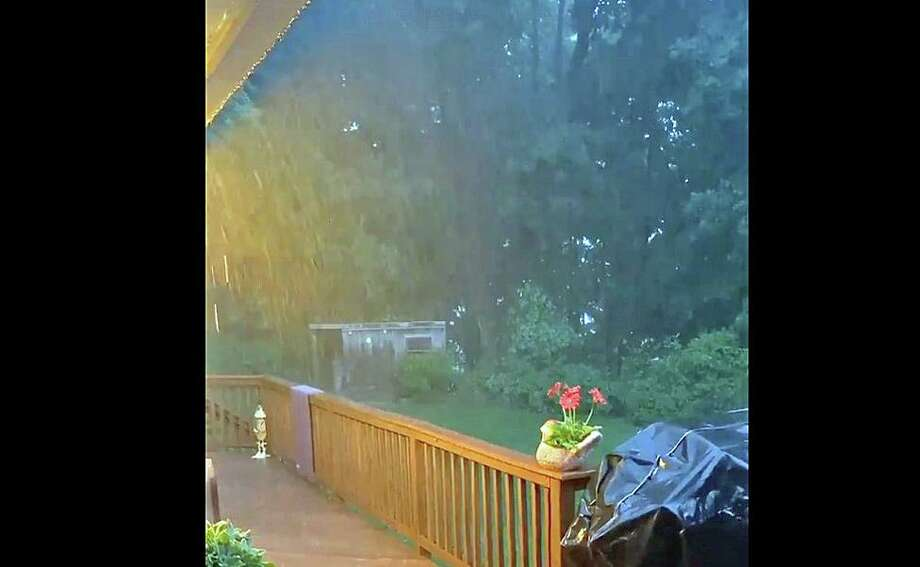 A screenshot of a video posted by the Office of Emergency Management in Bethel, Conn., as the storms hit the area on Wednesday, July 1, 2020. Photo: Contributed Photo / Bethel Office Of Emergency Management