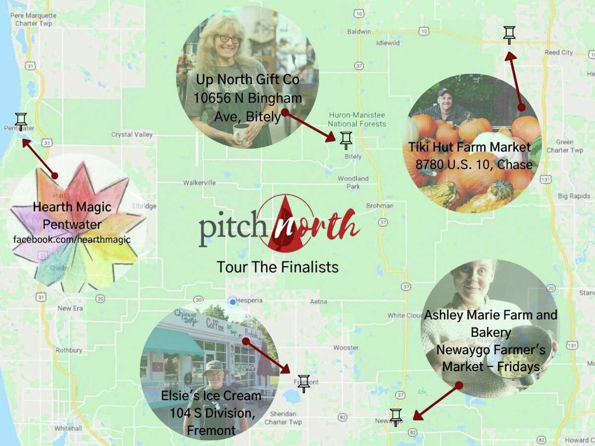 The five finalists in the Pitch North small business competition each took home prize money ranging from $4,000 to $5,00, to help expand their business. The map shows the location of each business, for those wishing to visit. (Submitted photo)