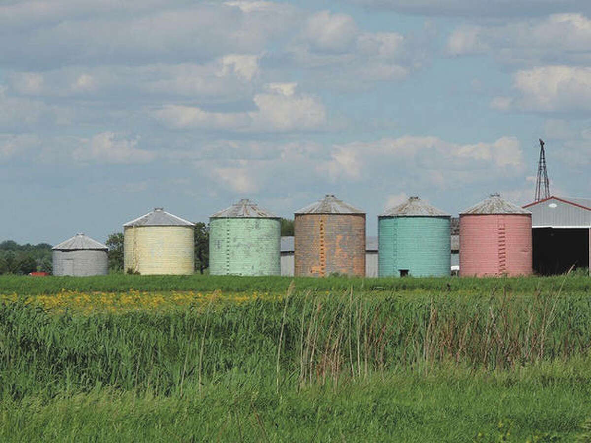 Colorful bins stand out amid the grasslands on the way to Joliet.
