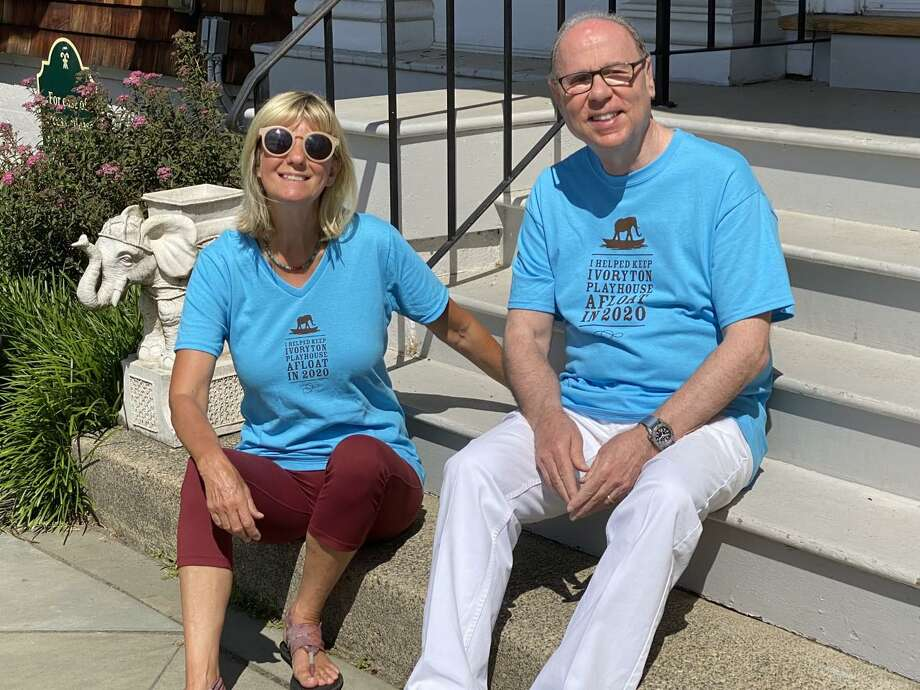 Ivoryton Playhouse Executive/Artistic Director Jacqui Hubbard and Al Jaffe, chair, Ivoryton Playhouse Board of Trustees, model the shirts. Photo: Ivoryton Playhouse / Contributed Photo