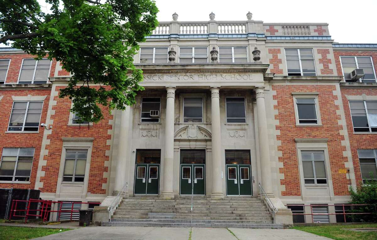 A view of the original entrance to Bassick High School in Bridgeport, Conn. on Friday July 1, 2016.