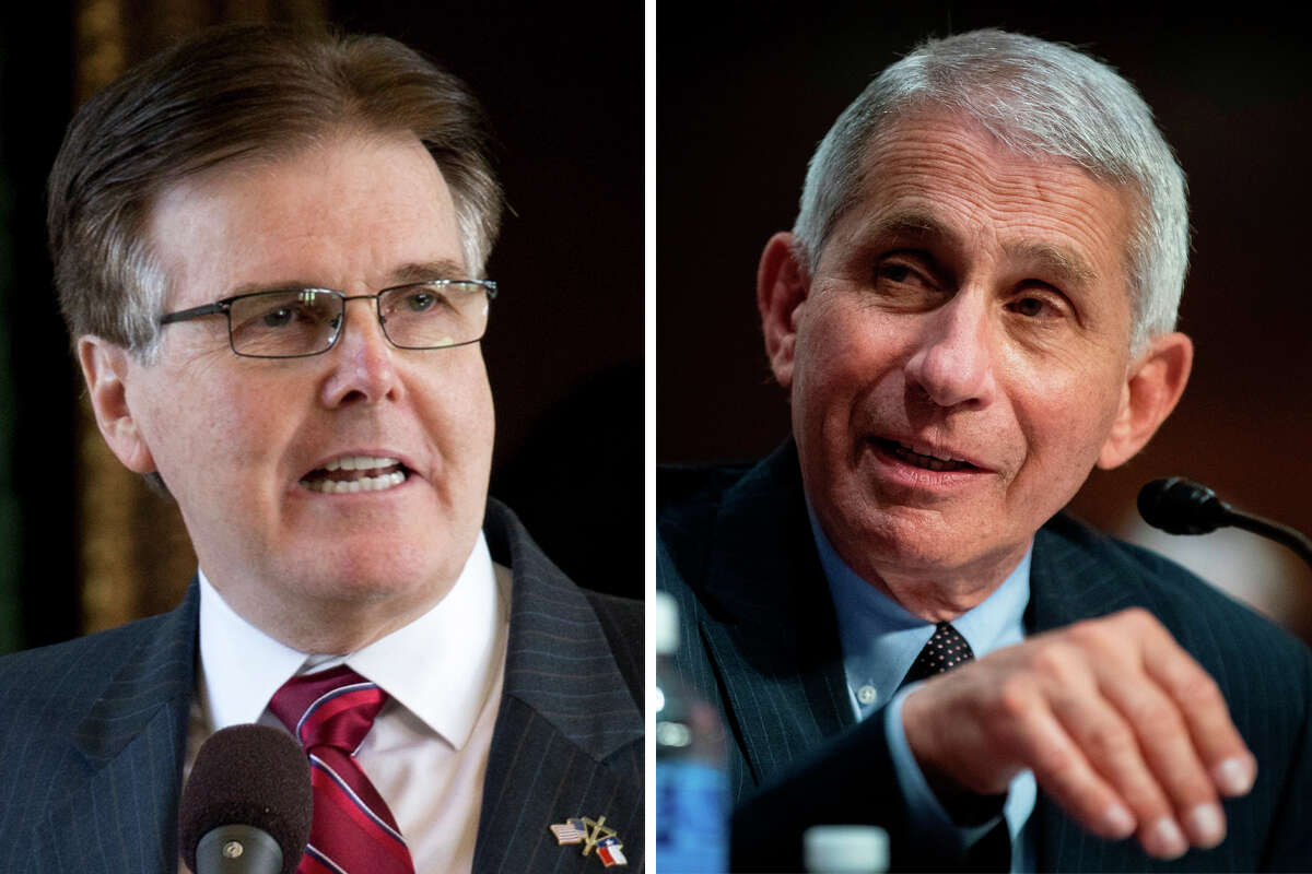Texas Lt. Gov. Dan Patrick and Dr. Anthony Fauci are pictured together in this composite photo.