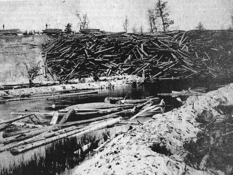 Logs sit on the edge of the Manistee River bank in Manistee County in this 1880s photograph waiting to be floated down the river to the sawmill.