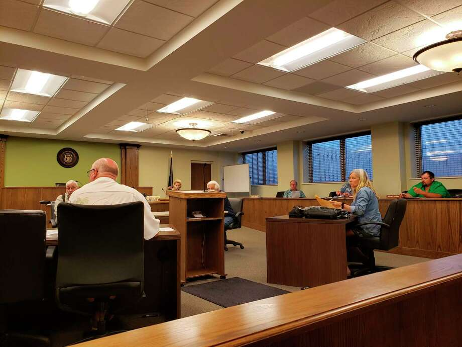 The Huron County Planning Commission meets in the district courtroom during its July meeting, the commission's first meeting since March. (Robert Creenan/Huron Daily Tribune)
