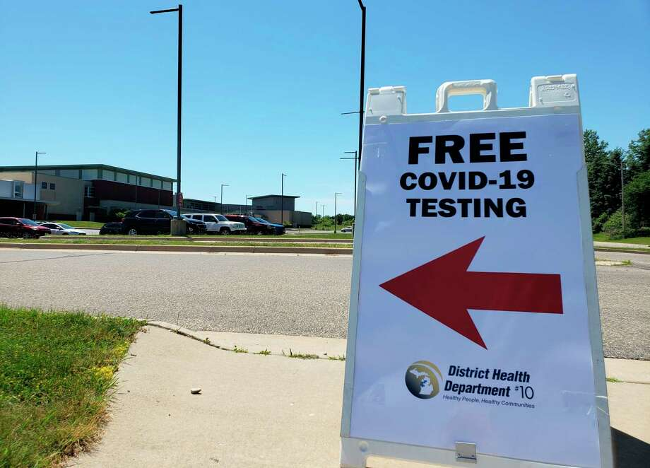 The District Health Department No. 10 recently held free COVID-19 testing at Manistee High School in Manistee County. The health department will offer free COVID-19 testing at Trinity Fellowship EFC Parking Lot next week. Photo: Pioneer Photo/Arielle Breen