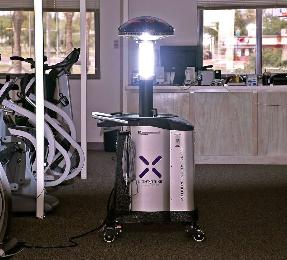 Laredo Medical Center officials announced the acquisition of ZAP-19, a germ zapping robot, Wednesday, July 1, 2020. Photo: Cuate Santos / Laredo Morning Times / Laredo Morning Times