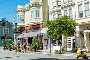 Facade and outdoor dining at Palmer's Tavern in the Pacific Heights neighborhood of San Francisco, California, June 28, 2020. (Photo by Smith Collection/Gado/Getty Images)