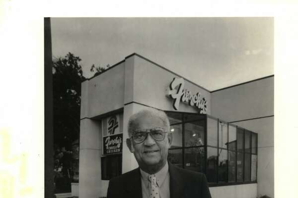 Owner Percy Creuzot in Front of Frenchy's Po-Boy & fried chicken Restaurant, I-10 at Waco